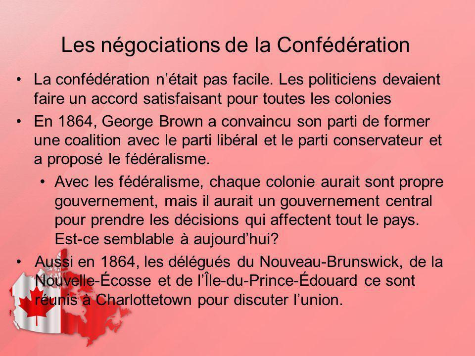 Les négociations de la Confédération La confédération nétait pas facile. Les politiciens devaient faire un accord satisfaisant pour toutes les colonie
