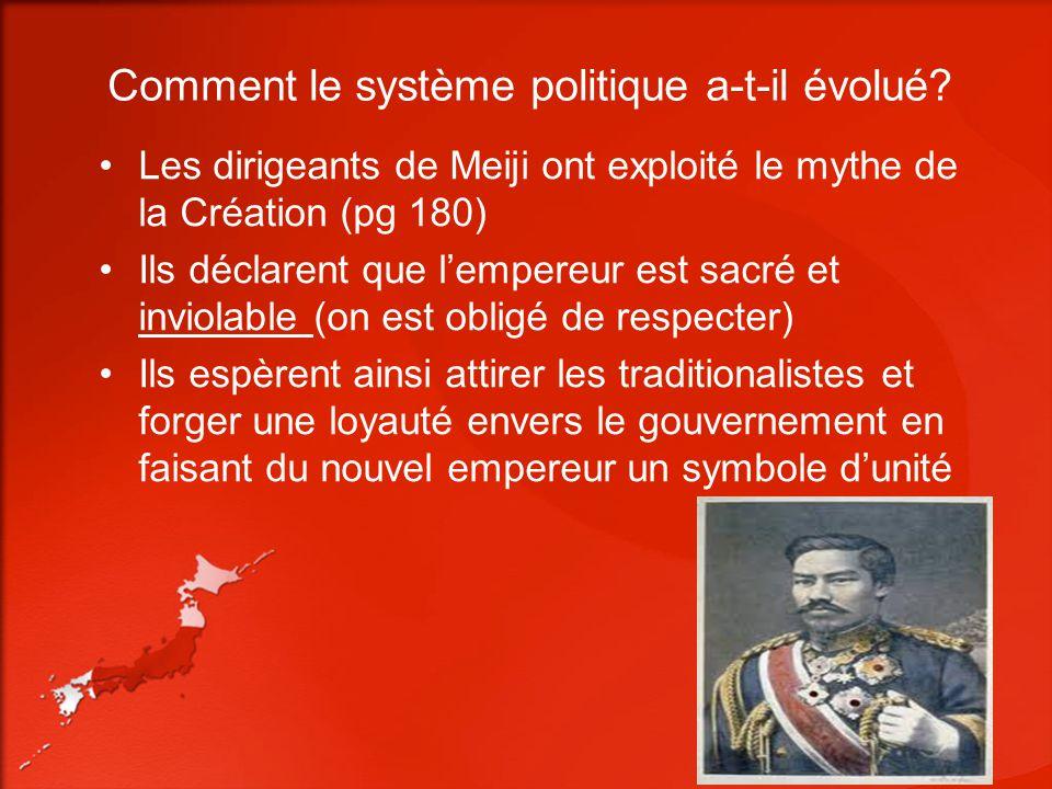 Comment le système politique a-t-il évolué? Les dirigeants de Meiji ont exploité le mythe de la Création (pg 180) Ils déclarent que lempereur est sacr