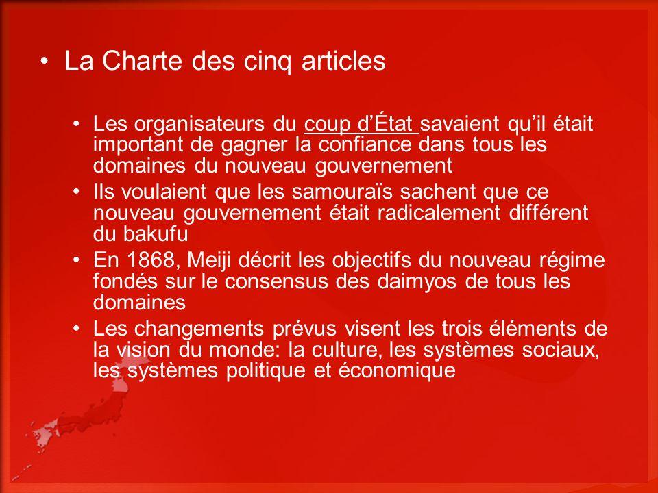 La Charte des cinq articles Les organisateurs du coup dÉtat savaient quil était important de gagner la confiance dans tous les domaines du nouveau gou