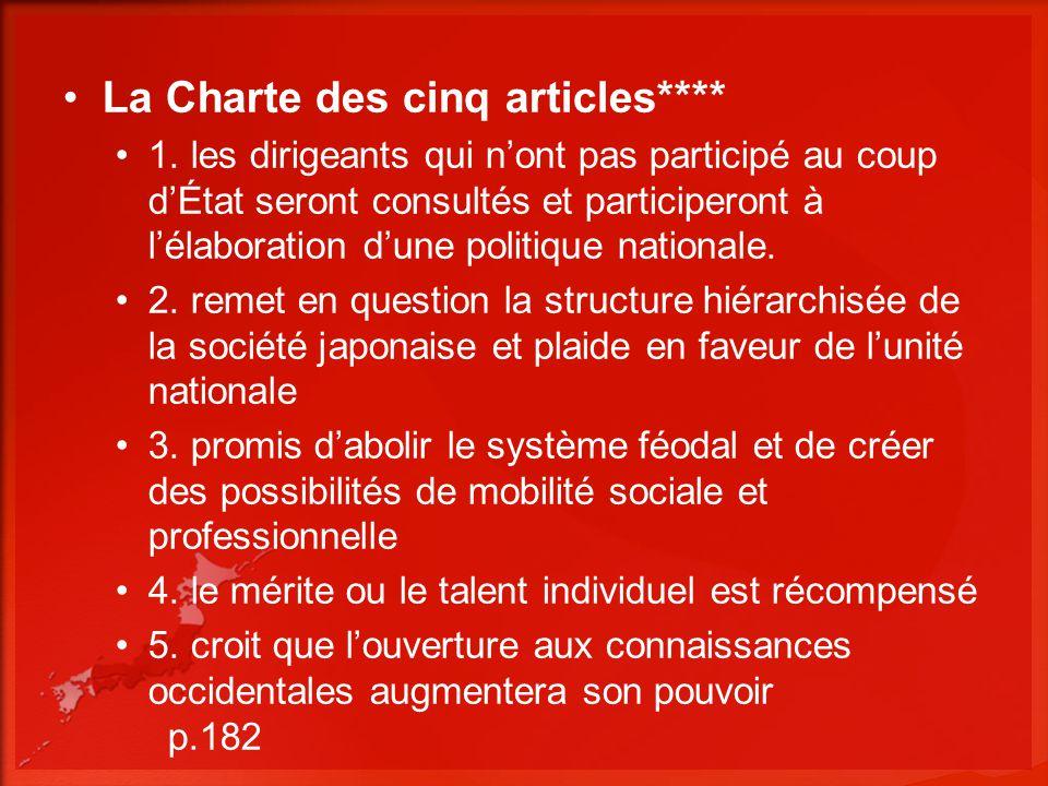 La Charte des cinq articles**** 1. les dirigeants qui nont pas participé au coup dÉtat seront consultés et participeront à lélaboration dune politique