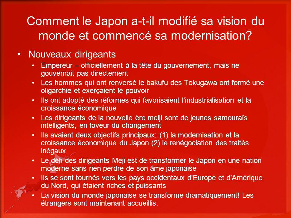 Comment le Japon a-t-il modifié sa vision du monde et commencé sa modernisation? Nouveaux dirigeants Empereur – officiellement à la tête du gouverneme