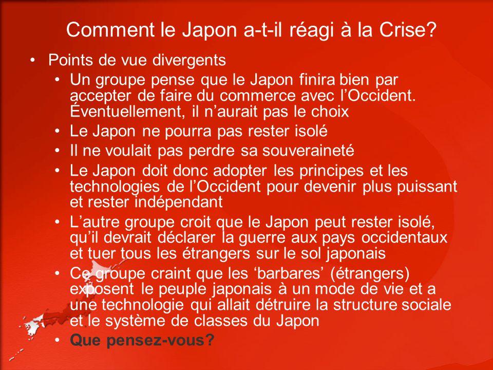 Comment le Japon a-t-il réagi à la Crise? Points de vue divergents Un groupe pense que le Japon finira bien par accepter de faire du commerce avec lOc