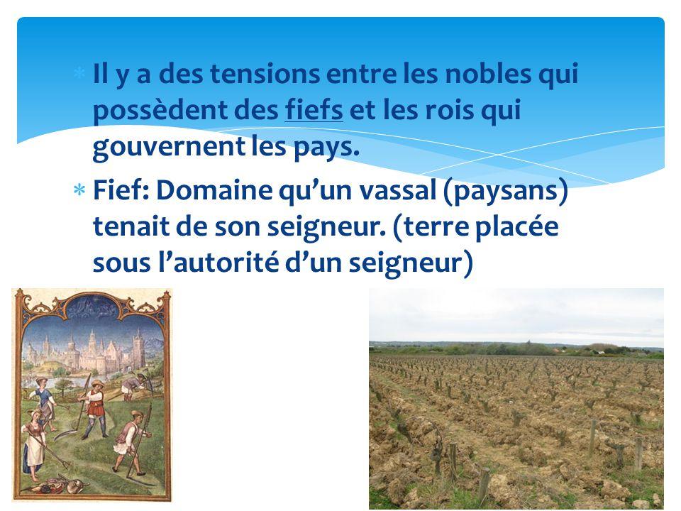 Il y a des tensions entre les nobles qui possèdent des fiefs et les rois qui gouvernent les pays. Fief: Domaine quun vassal (paysans) tenait de son se