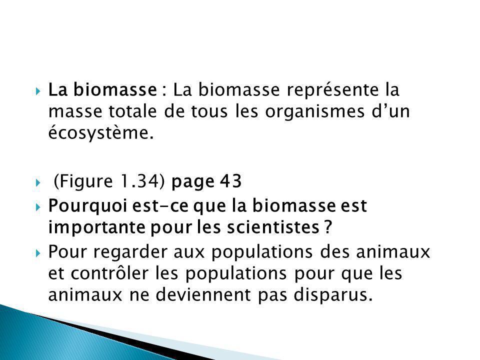 La biomasse : La biomasse représente la masse totale de tous les organismes dun écosystème. (Figure 1.34) page 43 Pourquoi est-ce que la biomasse est