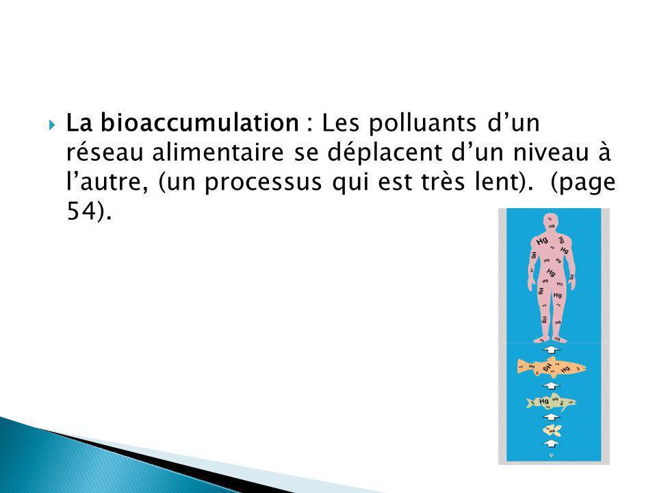 La bioaccumulation : Les polluants dun réseau alimentaire se déplacent dun niveau à lautre, (un processus qui est très lent). (page 54).