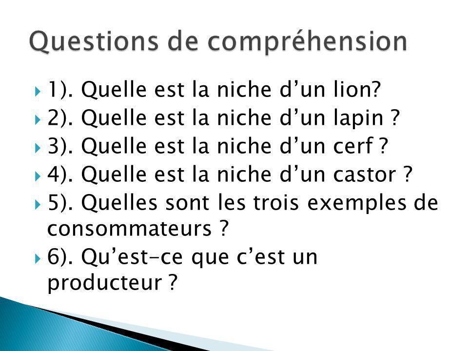 1). Quelle est la niche dun lion? 2). Quelle est la niche dun lapin ? 3). Quelle est la niche dun cerf ? 4). Quelle est la niche dun castor ? 5). Quel