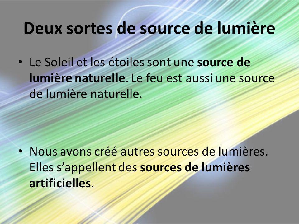 Deux sortes de source de lumière Le Soleil et les étoiles sont une source de lumière naturelle. Le feu est aussi une source de lumière naturelle. Nous