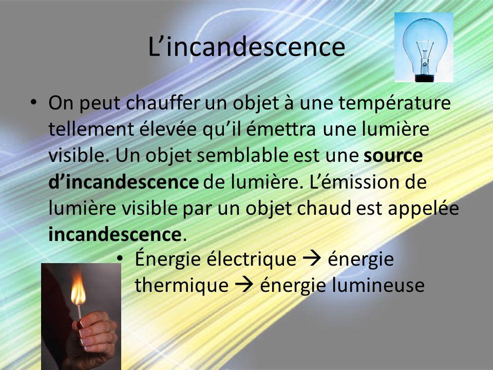 Lincandescence On peut chauffer un objet à une température tellement élevée quil émettra une lumière visible. Un objet semblable est une source dincan