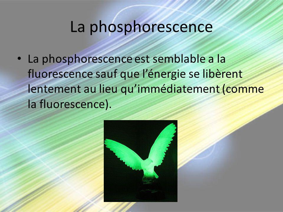 La phosphorescence La phosphorescence est semblable a la fluorescence sauf que lénergie se libèrent lentement au lieu quimmédiatement (comme la fluore