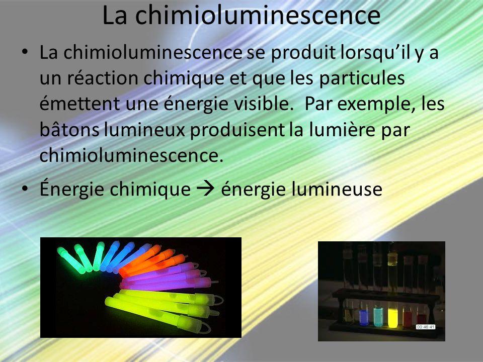 La chimioluminescence La chimioluminescence se produit lorsquil y a un réaction chimique et que les particules émettent une énergie visible. Par exemp