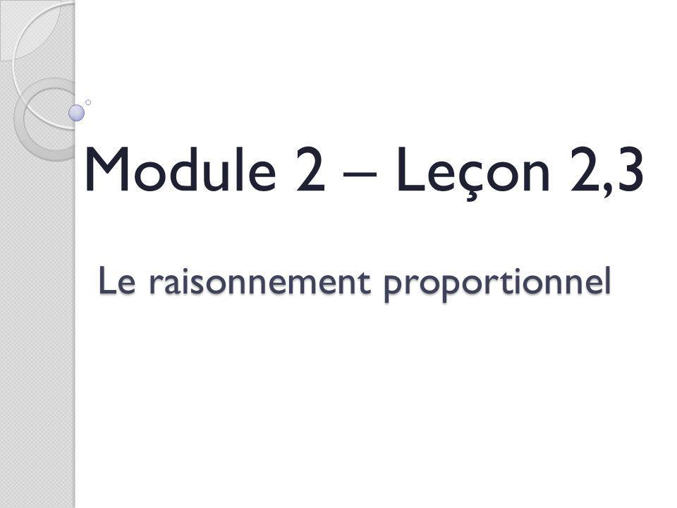 Le raisonnement proportionnel Module 2 – Leçon 2,3