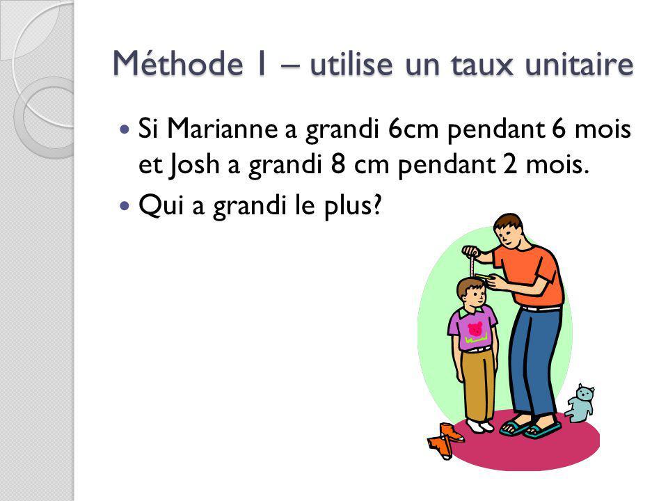 Méthode 1 – utilise un taux unitaire Si Marianne a grandi 6cm pendant 6 mois et Josh a grandi 8 cm pendant 2 mois.