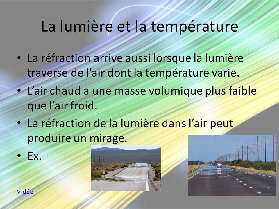 La lumière et la température La réfraction arrive aussi lorsque la lumière traverse de lair dont la température varie. Lair chaud a une masse volumiqu