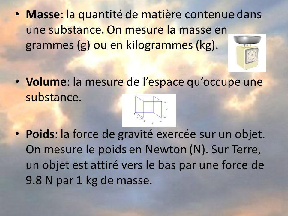 Masse: la quantité de matière contenue dans une substance.
