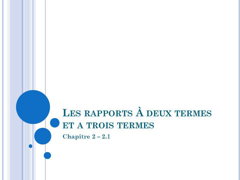 L ES RAPPORTS À DEUX TERMES ET A TROIS TERMES Chapitre 2 – 2.1