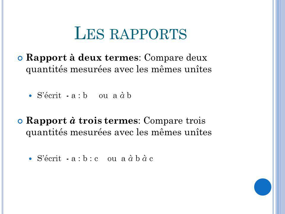 L ES RAPPORTS Rapport à deux termes : Compare deux quantités mesurées avec les mêmes unîtes Sécrit - a : b ou a à b Rapport à trois termes : Compare t