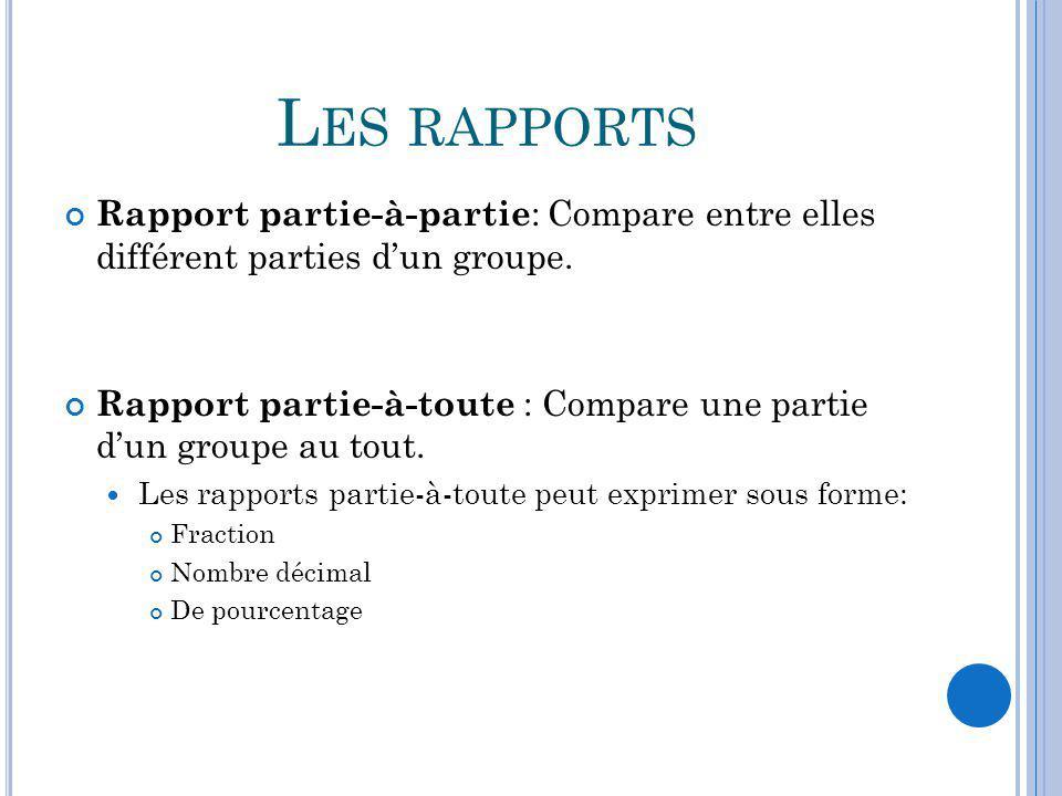 L ES RAPPORTS Rapport partie-à-partie : Compare entre elles différent parties dun groupe. Rapport partie-à-toute : Compare une partie dun groupe au to