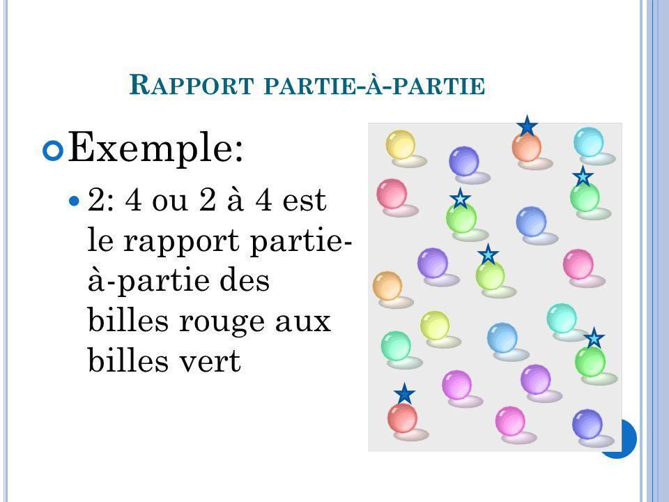 R APPORT PARTIE - À - PARTIE Exemple: 2: 4 ou 2 à 4 est le rapport partie- à-partie des billes rouge aux billes vert