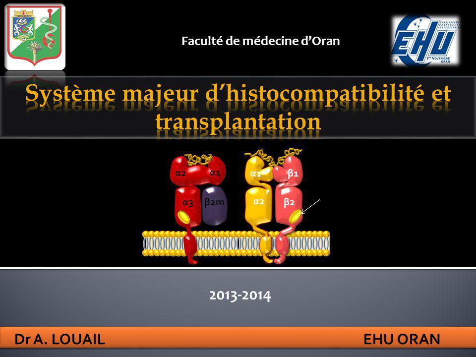 2013-2014 Dr A. LOUAIL EHU ORAN Faculté de médecine dOran α1α1 β2m α2α2 α3α3 α1α1β1β1 β2β2 α2α2