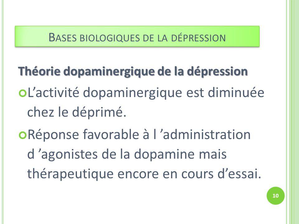 Théorie dopaminergique de la dépression Lactivité dopaminergique est diminuée chez le déprimé. Réponse favorable à l administration d agonistes de la
