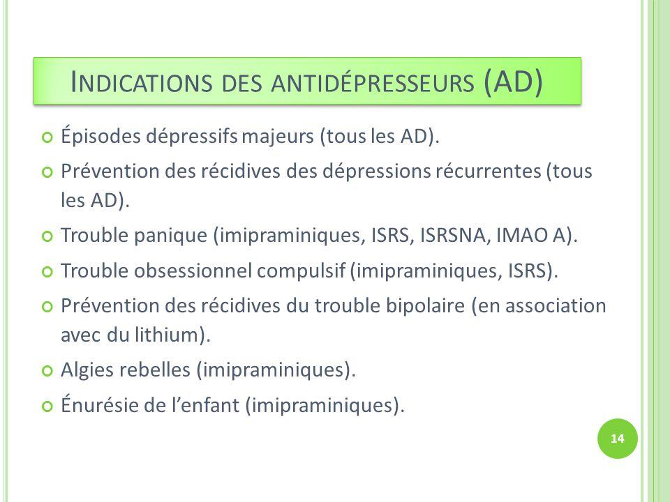 I NDICATIONS DES ANTIDÉPRESSEURS (AD) Épisodes dépressifs majeurs (tous les AD). Prévention des récidives des dépressions récurrentes (tous les AD). T