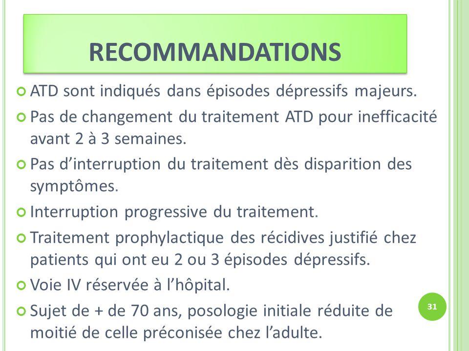 RECOMMANDATIONS ATD sont indiqués dans épisodes dépressifs majeurs. Pas de changement du traitement ATD pour inefficacité avant 2 à 3 semaines. Pas di