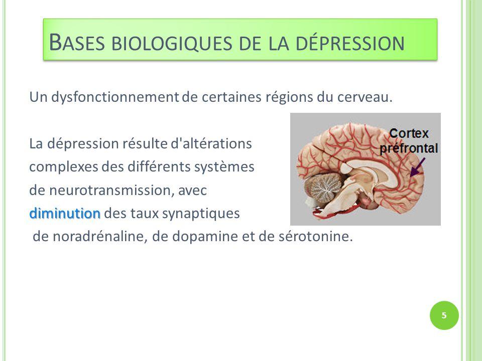 Un dysfonctionnement de certaines régions du cerveau. La dépression résulte d'altérations complexes des différents systèmes de neurotransmission, avec