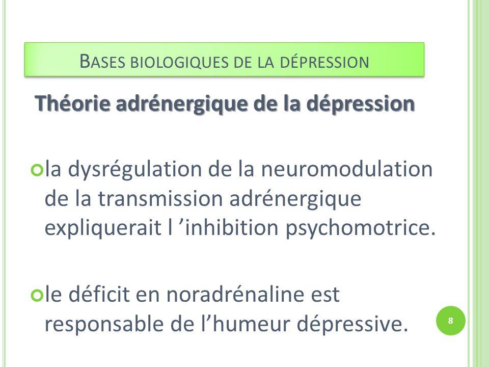 Théorie sérotoninergique de la dépression Le tryptophane améliore l humeur, Troubles psychologiques associés à une perturbation du système sérotoninergique expliquerait l humeur triste.