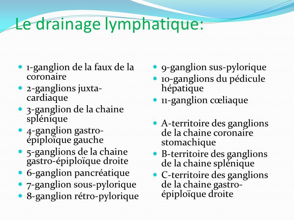 Le drainage lymphatique: 1-ganglion de la faux de la coronaire 2-ganglions juxta- cardiaque 3-ganglion de la chaine splénique 4-ganglion gastro- épiploïque gauche 5-ganglions de la chaine gastro-épiploïque droite 6-ganglion pancréatique 7-ganglion sous-pylorique 8-ganglion rétro-pylorique 9-ganglion sus-pylorique 10-ganglions du pédicule hépatique 11-ganglion cœliaque A-territoire des ganglions de la chaine coronaire stomachique B-territoire des ganglions de la chaine splénique C-territoire des ganglions de la chaine gastro- épiploïque droite