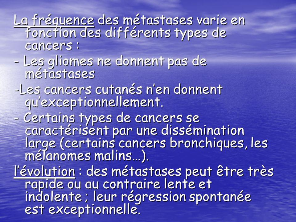 La fréquence des métastases varie en fonction des différents types de cancers : - Les gliomes ne donnent pas de métastases -Les cancers cutanés nen do