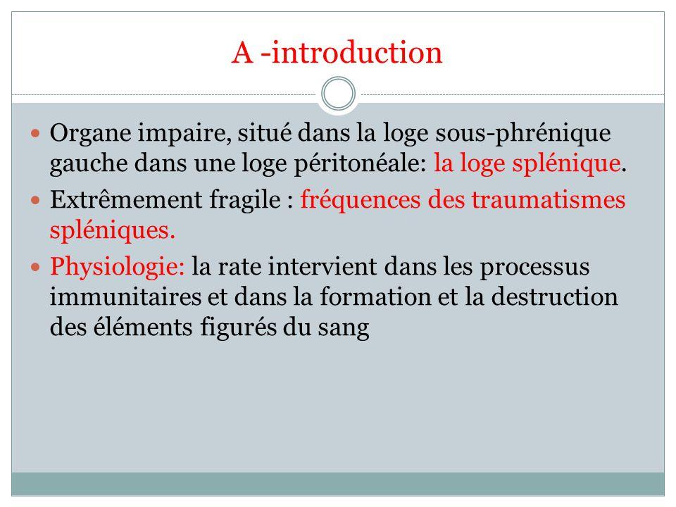 A -introduction Organe impaire, situé dans la loge sous-phrénique gauche dans une loge péritonéale: la loge splénique. Extrêmement fragile : fréquence