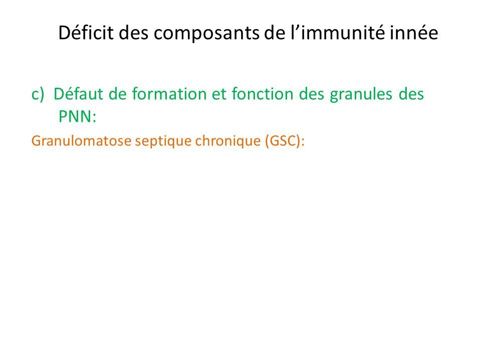 Déficit des composants de limmunité innée c) Défaut de formation et fonction des granules des PNN: Granulomatose septique chronique (GSC):