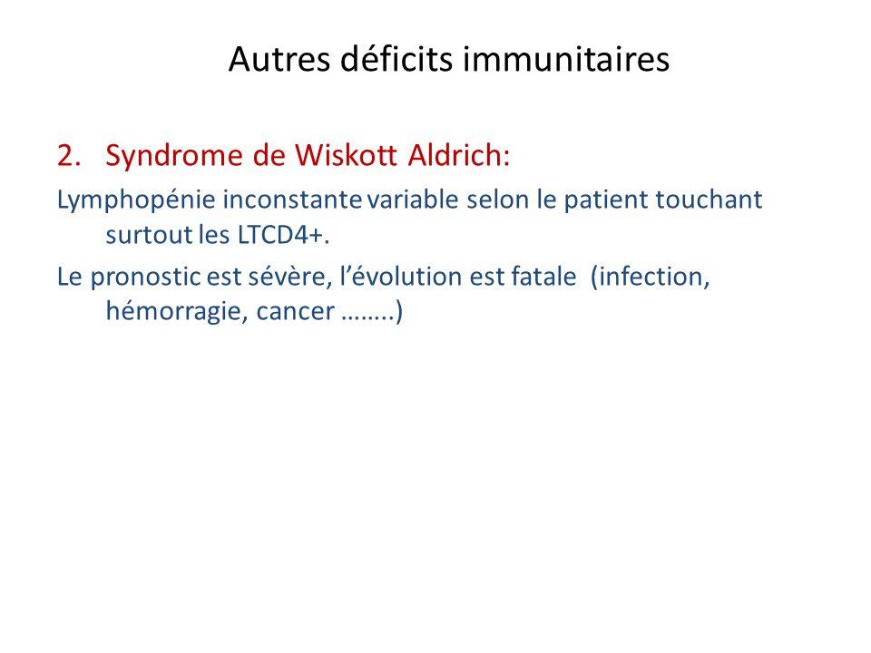 Autres déficits immunitaires 2. Syndrome de Wiskott Aldrich: Lymphopénie inconstante variable selon le patient touchant surtout les LTCD4+. Le pronost