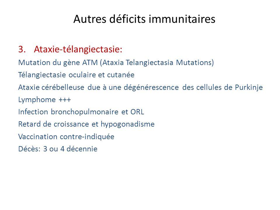 Autres déficits immunitaires 3.Ataxie-télangiectasie: Mutation du gène ATM (Ataxia Telangiectasia Mutations) Télangiectasie oculaire et cutanée Ataxie
