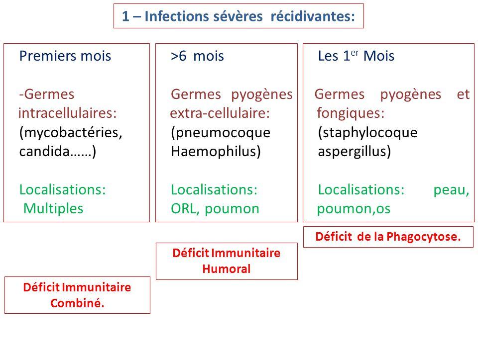 Premiers mois -Germes intracellulaires: (mycobactéries, candida……) Localisations: Multiples >6 mois Germes pyogènes extra-cellulaire: (pneumocoque Hae