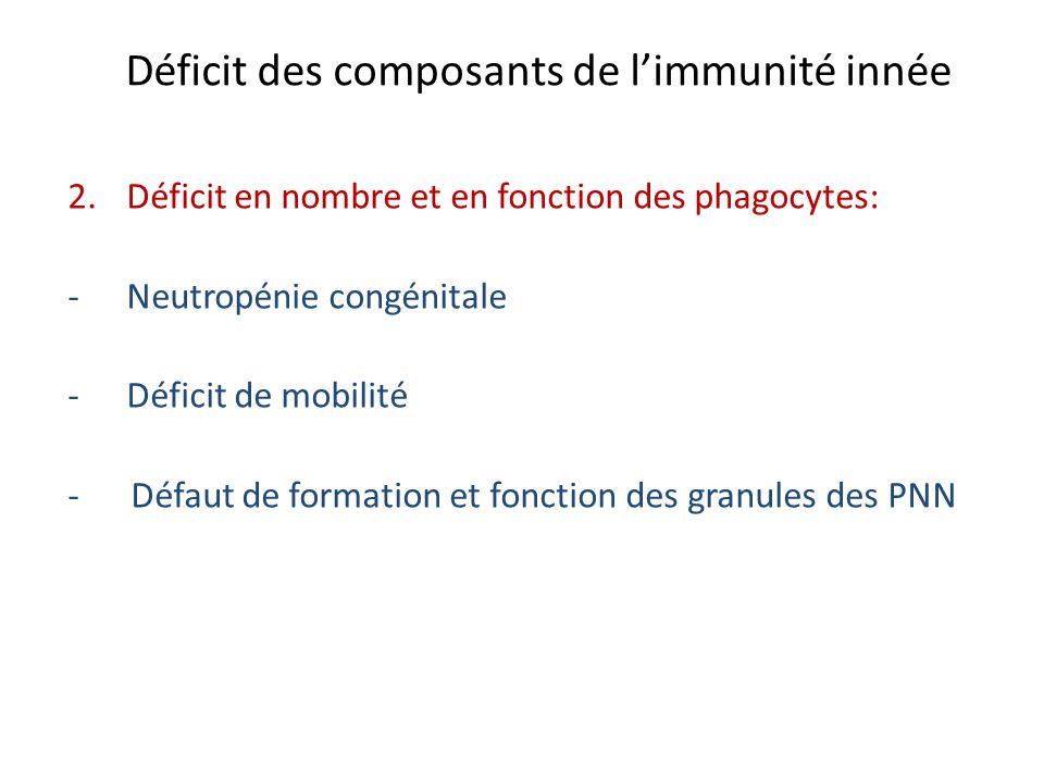 Déficit des composants de limmunité innée 2.Déficit en nombre et en fonction des phagocytes: -Neutropénie congénitale -Déficit de mobilité - Défaut de