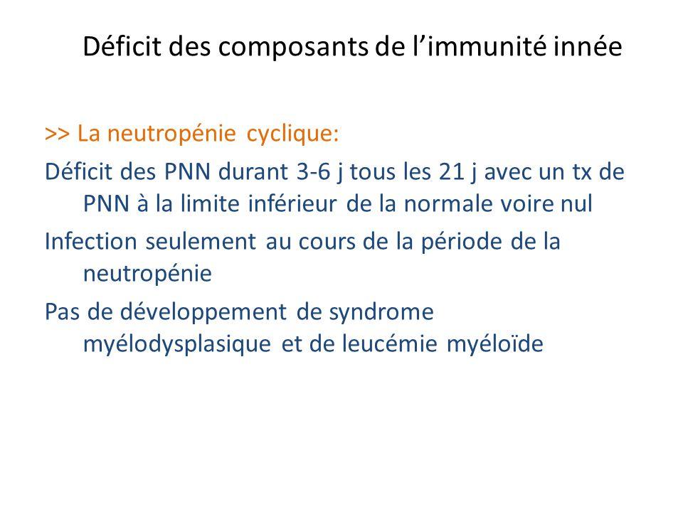Déficit des composants de limmunité innée >> La neutropénie cyclique: Déficit des PNN durant 3-6 j tous les 21 j avec un tx de PNN à la limite inférie