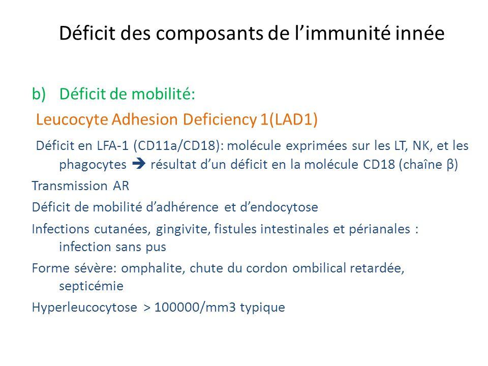 Déficit des composants de limmunité innée b)Déficit de mobilité: Leucocyte Adhesion Deficiency 1(LAD1) Déficit en LFA-1 (CD11a/CD18): molécule exprimé