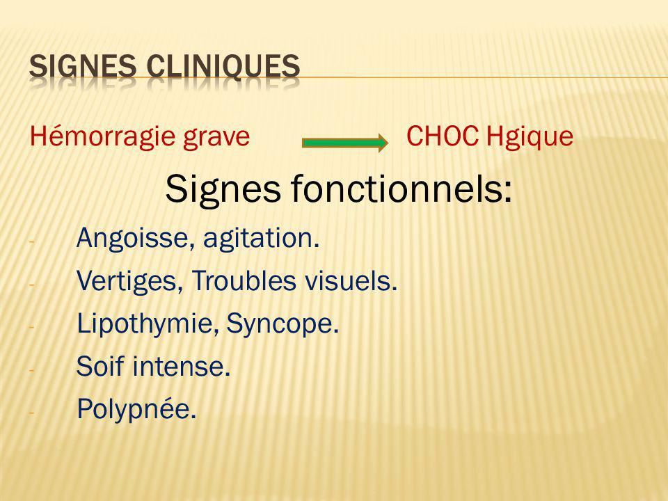 Signes généraux : - Pâleur cutanéo-muqueuse - Sueurs froides - Refroidissement des extrémités - Tachycardie (pouls rapide) - Tension artérielle basse - Oligurie