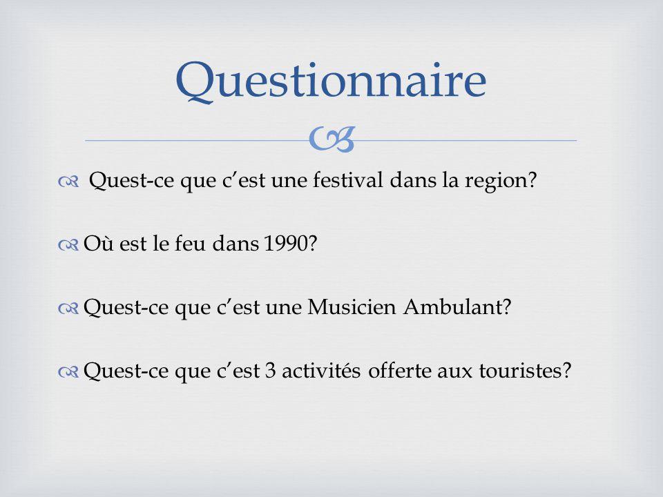 Quest-ce que cest une festival dans la region.Où est le feu dans 1990.