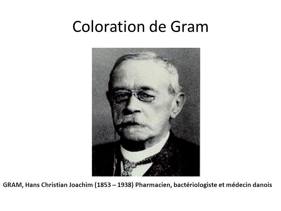 Coloration de Gram GRAM, Hans Christian Joachim (1853 – 1938) Pharmacien, bactériologiste et médecin danois