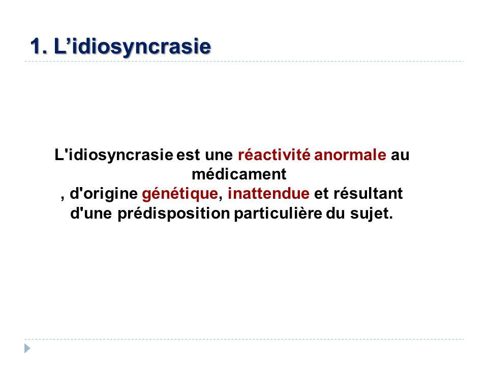 1. Lidiosyncrasie L'idiosyncrasie est une réactivité anormale au médicament, d'origine génétique, inattendue et résultant d'une prédisposition particu