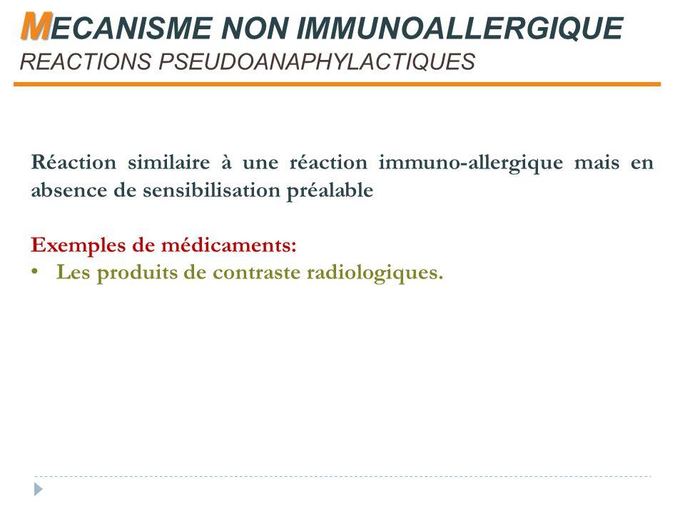 M M ECANISME NON IMMUNOALLERGIQUE REACTIONS PSEUDOANAPHYLACTIQUES Réaction similaire à une réaction immuno-allergique mais en absence de sensibilisation préalable Exemples de médicaments: Les produits de contraste radiologiques.