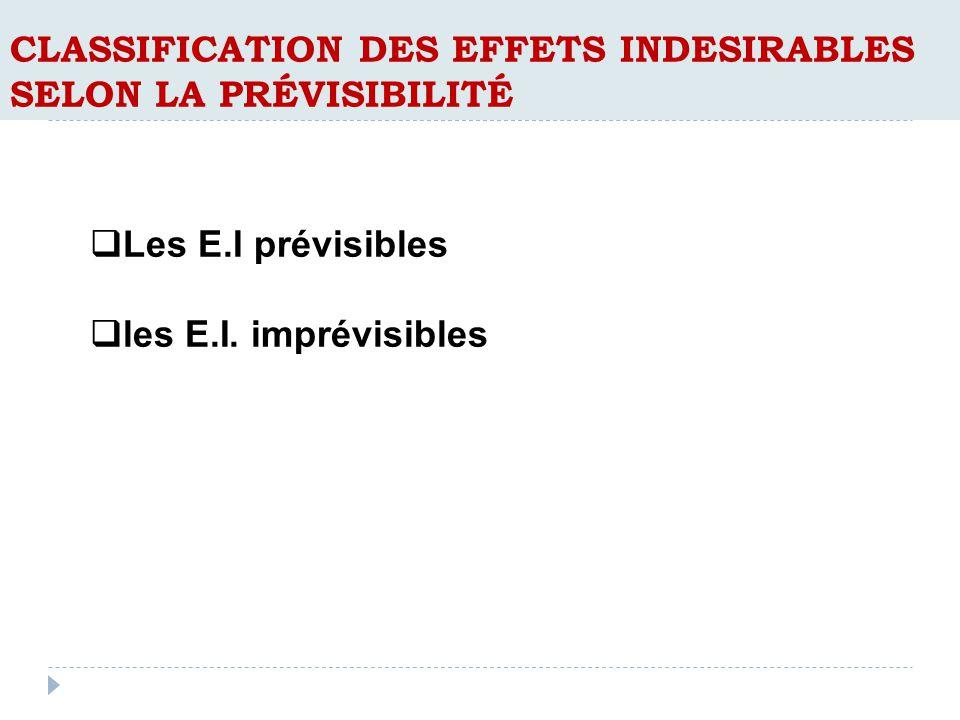 CLASSIFICATION DES EFFETS INDESIRABLES SELON LA PRÉVISIBILITÉ Les E.I prévisibles les E.I.