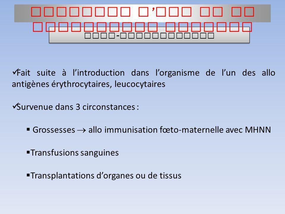 Fait suite à lintroduction dans lorganisme de lun des allo antigènes érythrocytaires, leucocytaires Survenue dans 3 circonstances : Grossesses allo im