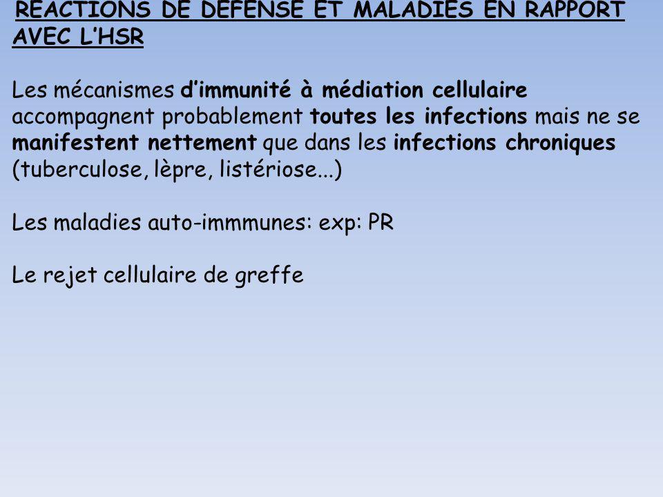 REACTIONS DE DEFENSE ET MALADIES EN RAPPORT AVEC LHSR Les mécanismes dimmunité à médiation cellulaire accompagnent probablement toutes les infections
