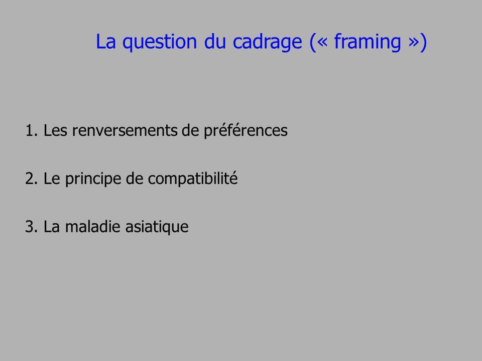 La question du cadrage (« framing ») 1. Les renversements de préférences 2. Le principe de compatibilité 3. La maladie asiatique