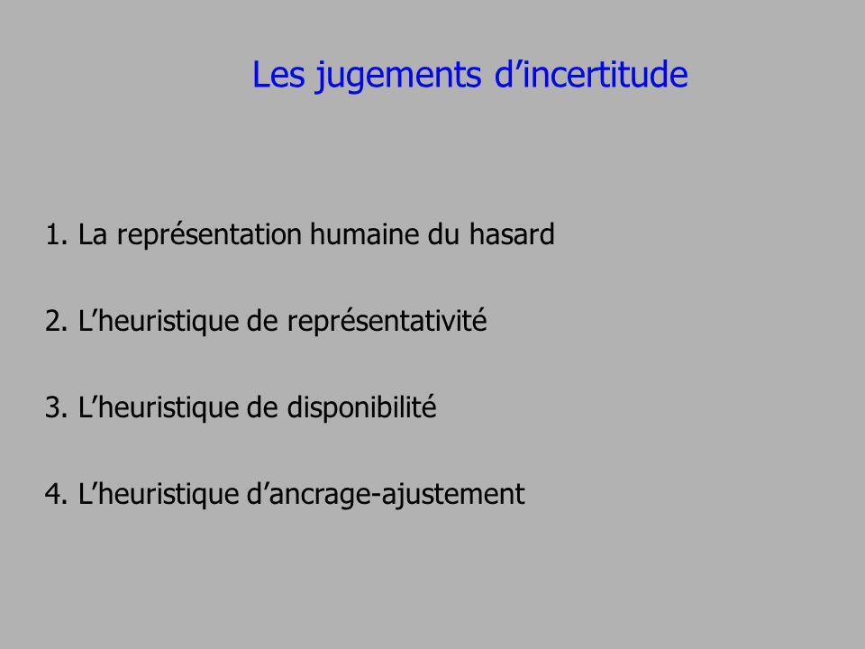Les jugements dincertitude 1. La représentation humaine du hasard 2. Lheuristique de représentativité 3. Lheuristique de disponibilité 4. Lheuristique