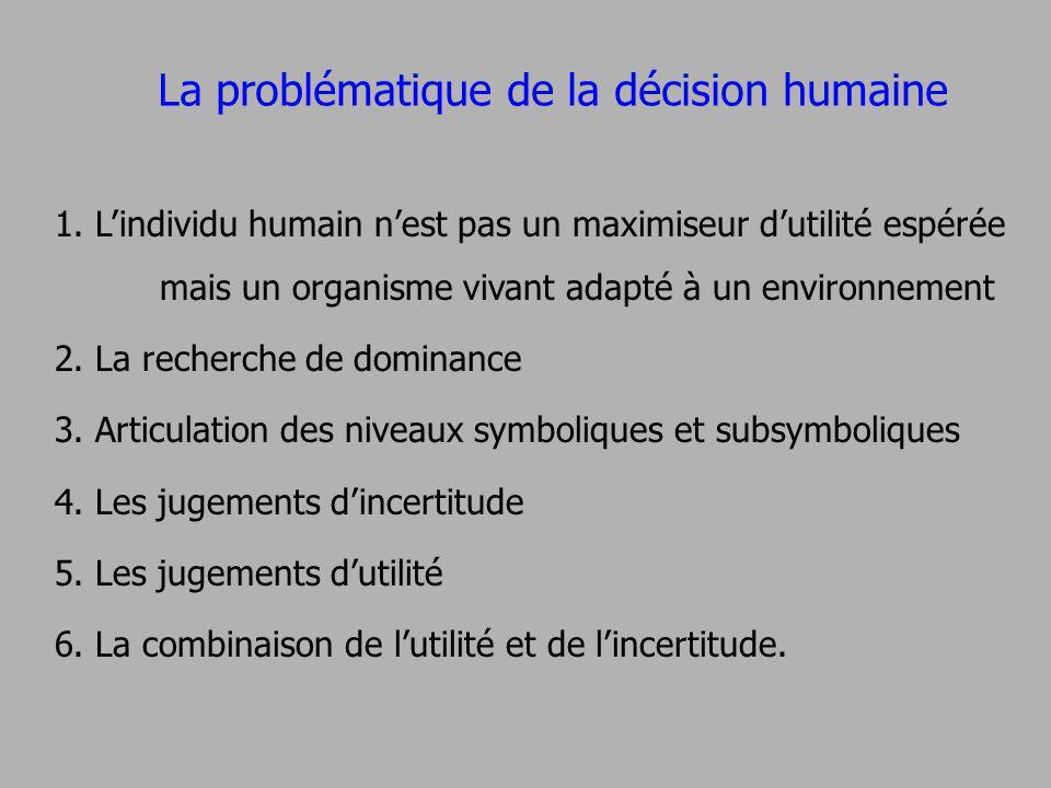 1. Lindividu humain nest pas un maximiseur dutilité espérée mais un organisme vivant adapté à un environnement 2. La recherche de dominance 3. Articul
