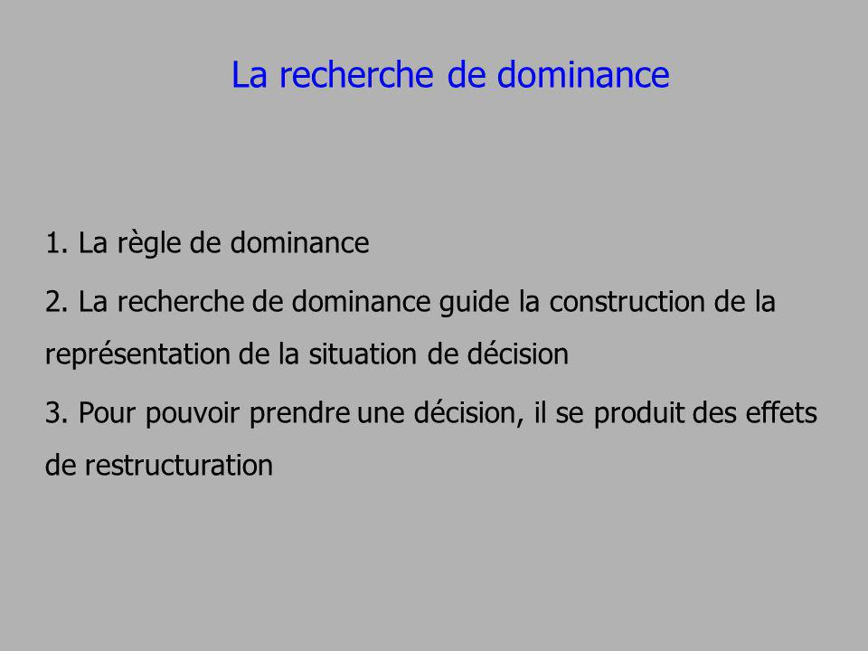 La recherche de dominance 1. La règle de dominance 2. La recherche de dominance guide la construction de la représentation de la situation de décision